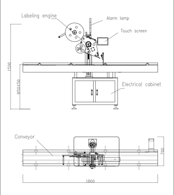 Máquina automática de etiquetado autoadhesivo de tapa plana